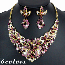 fashion brand red wedding bridal unique jewelry sets party vintage fancy necklace and earring sets for women JEWELRY WHOLESALE