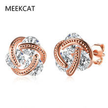 MEEKCAT Fashion AAA Cubic Zirconia White Crystal gold Color Ear Stud Earrings For Women 2017 New Female Jewelry