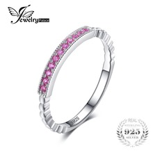 JewelryPalace 925 Sterling Silver Created Pink Sapphire Rope Band Stackable Ring Pink Sapphire for Women Engagement Ring On Sale(China)