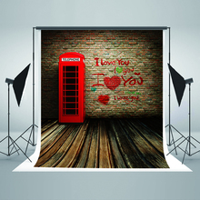 Wedding Backdrops Red Phone Booth Digital Printing Backdrops I Love Your Brick Walls Background for Photography Studio