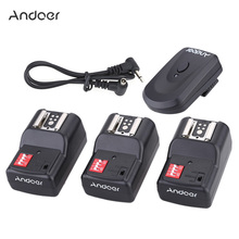 Andoer PT-04GY 16 Channel Wireless Remote Flash Trigger Set for Canon Nikon Sigma with 1 Transmitter +3 Receivers +1 Sync Cord