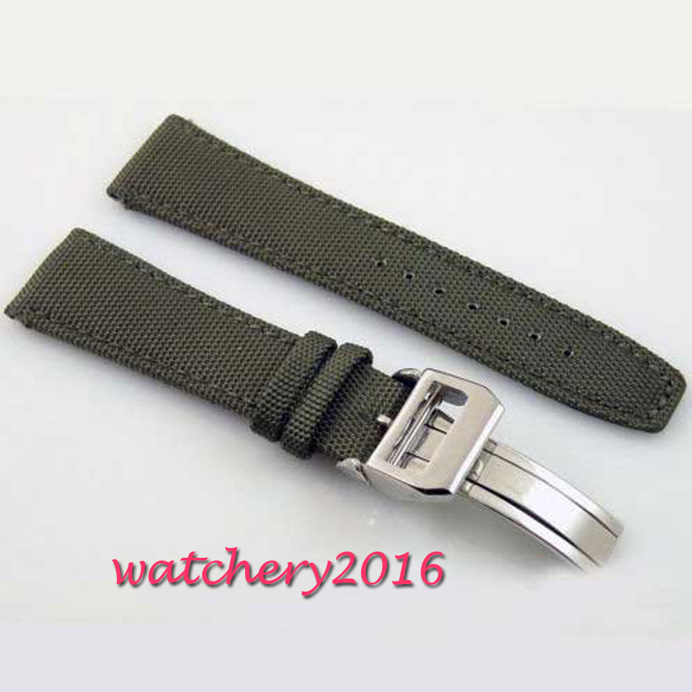 22mm green olive deployment buckle Strap fit parnis watch<br>