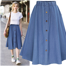 Kesebi 2017 Spring Summer New Fashion Women European High-waisted Solid Color Skirts Female Casual Denim Simple Buttons Bottoms