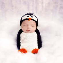 2017 Animal Pattern Baby Costume Photo Props Infant Beanie Cap Baby Penguin Hat and Sleeping Bag Newborn Crochet Outfits