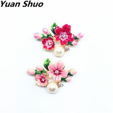 Cherry spring flower small peach apricot flower red pink drop glaze plant style collar needle brooch Corsage pin(China)