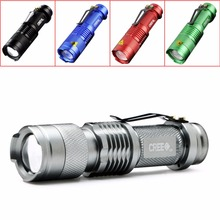 2017 New 5 Colors Mini Flashlight 2000 Lumens CREE Q5 LED Torch AA/14500 Adjustable Zoom Focus Torch Lamp Penlight