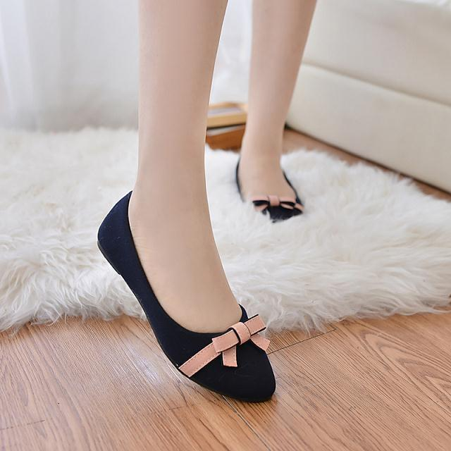 New Hot Spring and Summer 2017 Bow-knot Flats Women Black Flock Solid Flat Shoes Rubber Soles Women Pointed Toe Flats Size 35-40<br><br>Aliexpress