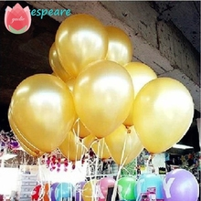 10Pcs 10Inch 1.5g/Pcs Golden Latex Balloon Helium Air Balls Inflatable Wedding Party Decoration Kids Birthday Float Toy Baloons(China)