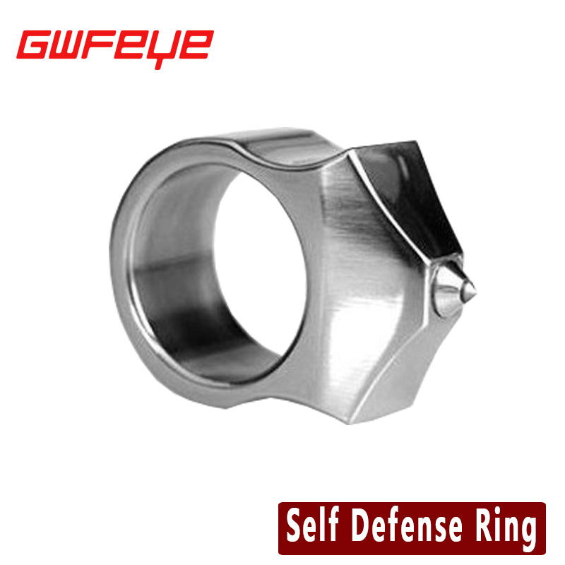 GWFEYE Tungsten Steel Self Defense Supplies Self-Defense Ring Women Men Safety Survival Finger Ring With Chain Tool EDC<br><br>Aliexpress