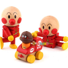 9cm 1Pcs Baby Kids Wooden Puppet Toys Cartoon Anime Mini Anpanman Doll Minifigure Blocks Figures Action Gifts Toys For Children
