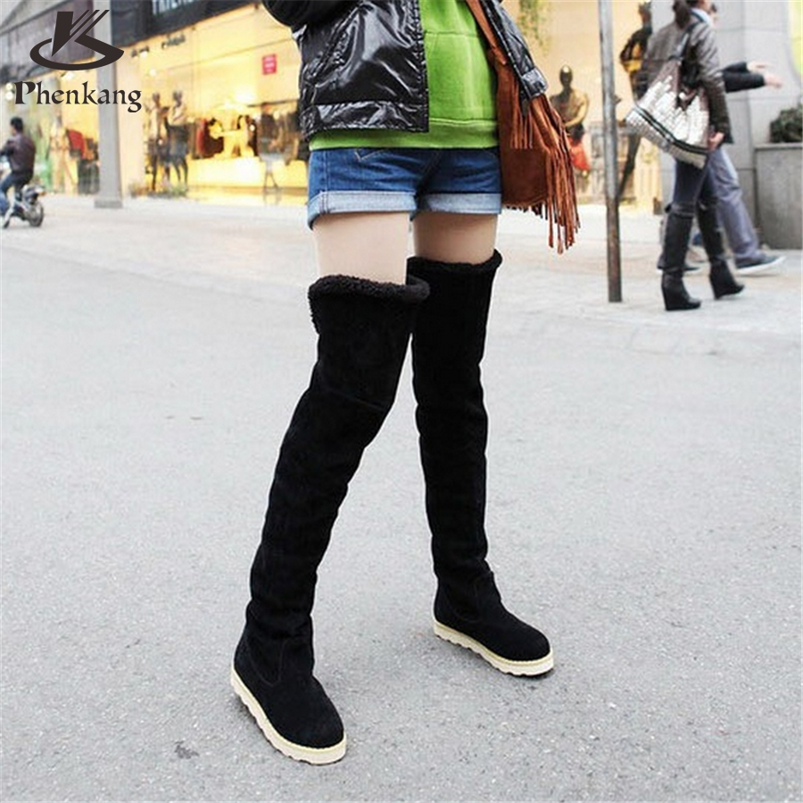 2017 New autumn winter snow boots women flat high knee boots plus velvet shoes Korean version thin boots US size 8.5 with fur<br><br>Aliexpress