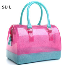 2016 Summer Beach Women Jelly Bags Candy Color Transparent Handbags Lovely Totes Clutches #L16062102