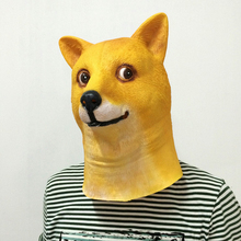 funny Vinyl Doge Full Head Mask Cospaly Masquerade Dress Up Dog Carnival Party Crazy Mask- Yellow(China)