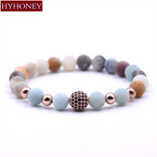 HYHONEY Micro Pave CZ Disco Ball Charm Bracelets for Women Frosted Amazonite Natural Stone Bracelets & Bangles pulseras(China)