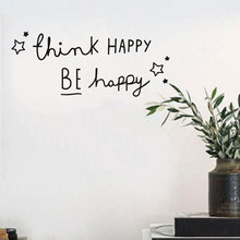 PVC Wall Sticker Bedroom Living Room Creative Decoration 58*24CM Black Classic Easy To Install Remove Think Happy(China)