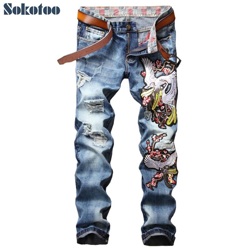 Sokotoo Mens fashion crane plum blossom flower embroidery jeans Casual holes ripped torn washed denim pantsÎäåæäà è àêñåññóàðû<br><br>