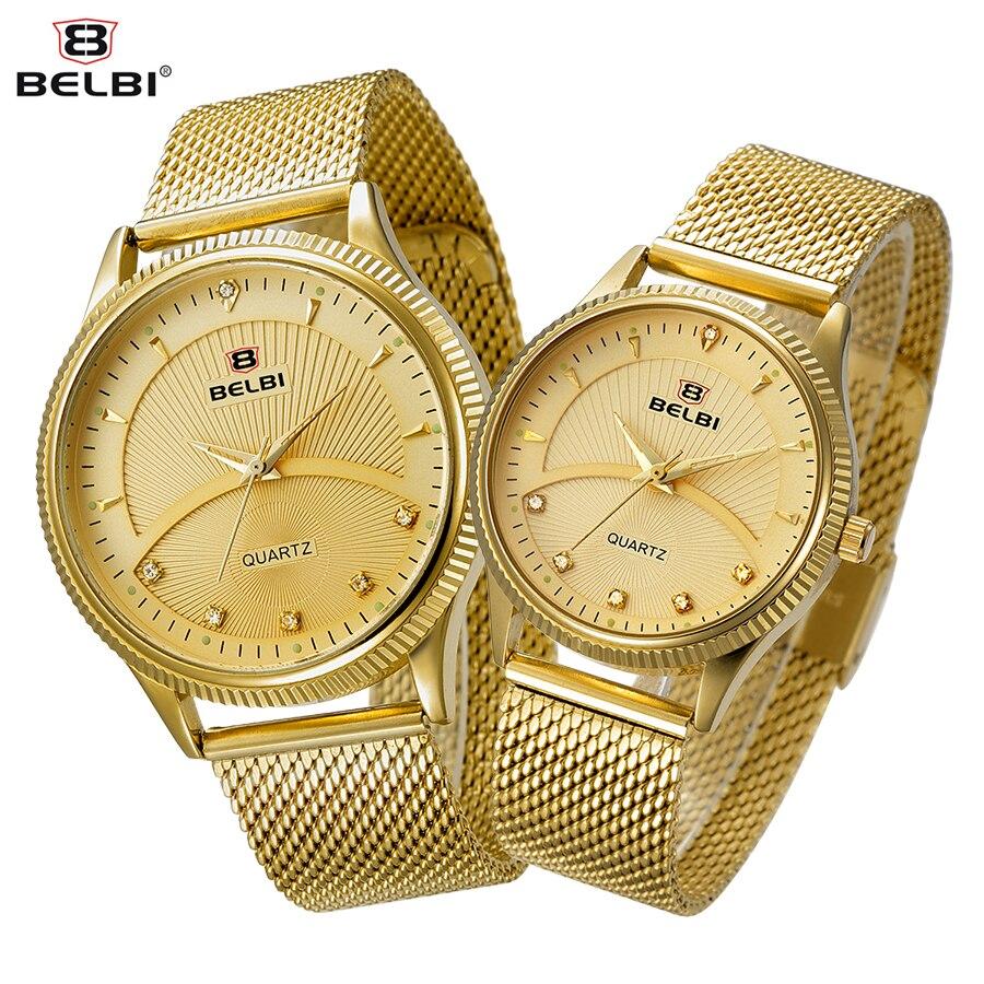 BELBI Steel Mesh Lovers Watch Men Top Brand Luxury Quartz Watch Sun Moon Style Rhinestone Women Wristwatch Gold Relogio Feminio<br><br>Aliexpress