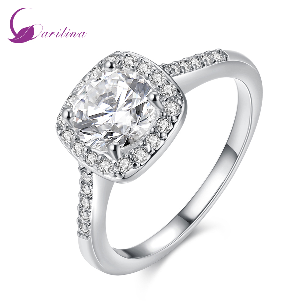 Engagement Ring Top Quality Rings for women White crystal ring Silver Overlay jewelry size 5 6 7 8 9 R2046(China)