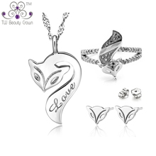 2017 New 925 Sterling Silver White Crystal CZ Fox Animal Pendant Necklaces Earrings Ring Woman Fashion Jewelry Set Birthday Gift