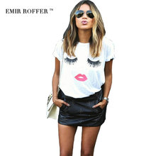 EMIR ROFFER eyelash red lips tshirts print letters female T-shirt plus size summer tee shirt femme harajuku shirt women tops(China)