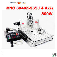 4 Axis CNC Router 6040 Z-S65J milling machine with 800W VFD spindle, rotary axis for 3d cnc