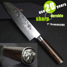 HAOYE 7 inch damascus santoku knife Japanese kitchen knife cooking Dicing Mincing susi cutter 2017 NEW luxury housewarming gift(China)