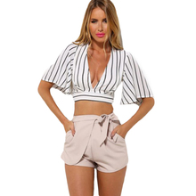 Dower Me Fashion New Arrivals Half Sleeve Solid Crop Tops Plunge V Neck Short Summer Woman Slim Blouse Tank Camis Clothing(China)