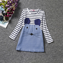 Striped Patchwork Character Girl Fashion Dresses Long Sleeve Mouse Children Clothing Kids Girls Dress Cute Denim Clothes(China)