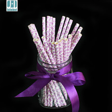 25pcs/lot Purple Paper drinking straw sticks for christmas wedding party celebration Decorations tableware(China)