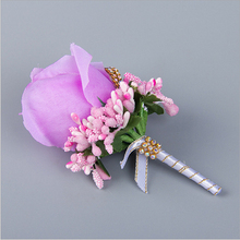 Handmade Wedding Boutonniere Groom Groomsman Corsage Artificial Flower Silk Rose Man Suit Brooch Flowers Light Purple Corsages