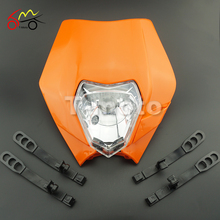 Orange Motorcycle Dirt Bike Motocross Supermoto Universal Headlight Fairing SX EXC
