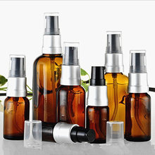 20pcs/Lot New 5ml 10ml 15ml 20ml 30 50ml 100ml Amber Brown Glass Spray Bottle Essential Oils Bottle With Anodized Aluminum Pump