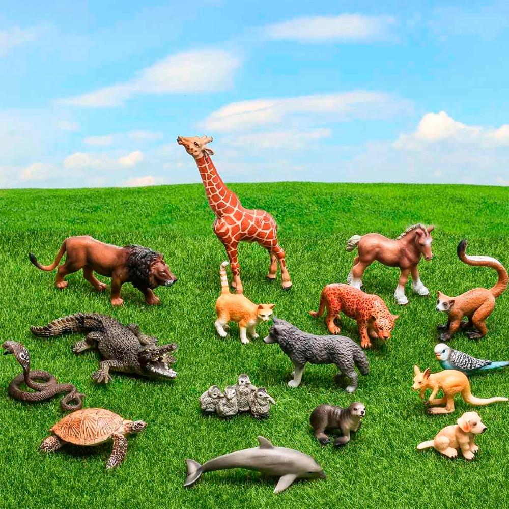 Certified Goods 16pcs Large Animals Model Set PVC 3D Anime Fingerlings Action Figures Toys For Children Wild Animal World Figma<br>