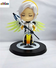 Anime OW Over game watch  Mercy 10cm  PVC Action Figure Collection Model Kids Toy Doll Xmas Gift
