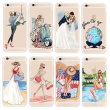 Fashion Travel Girl Design Case For Apple iPhone 5 5S SE 6 6S 7Plus Transparent Hard Protective Phone Cover Sexy Girl Fundas