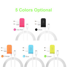 EU Type Candy 3USB Charger 5V 3.1A Intelligent Travel Charger for HTC Android Mobile Phones Charging Port with Micro USB Cable