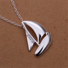 New Listing Hot selling  silver plated  and creative sailing Crystal Necklace Fashion trends Jewelry Gifts