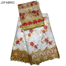 JXFABRIC Newest Bazin Riche Getzner With Beads Bazin Riche Fabric 2017 Best Selling African Wedding Lace Fabric Hot Design New(China)