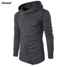 Domeef Men Hoodies Street Wear Diagonal Zipper Slim Fashion Sweatshirt Men's Tracksuit Men Assassins Creed Hoodies M-3XL