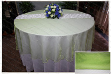 210cm Round NO.69 Apple Green Organza Table Overlay/Table Cover/Tablecloth For Wedding Party Home Hotel Banquet Decorations