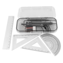 SOSW-7 in 1 Black Clear Plastic Ruler Compass Geometric Drafting Tool Set