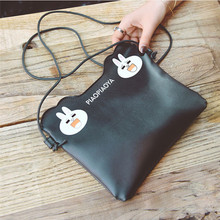 crossbody bags for women/men leather black white small waterproof cute rabbit fruit print Handbag Messenger Shoulder Phone Bag(China)