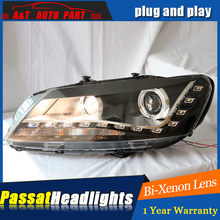 AUTO.PRO 2011-2014 For vw passat b7 headlights parking Q5 bi xenon lens LED DRL H7 xenon For vw passat HEAD LAMPS car styling