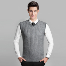 2016 Latest Style Fashion Grey V neck Sleeveless Knitting Pattern Mens Cable Sweater Vest