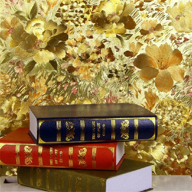 beibehang 3d wallpaper for Floral wallpaper gold leaf walls in gold relief background wallpaper to ceiling living room<br>