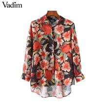 Vadim women retro floral chiffon oversized shirts pleated blouse ladies vintage loose casual asymetrical tops blusas LT2175(China)