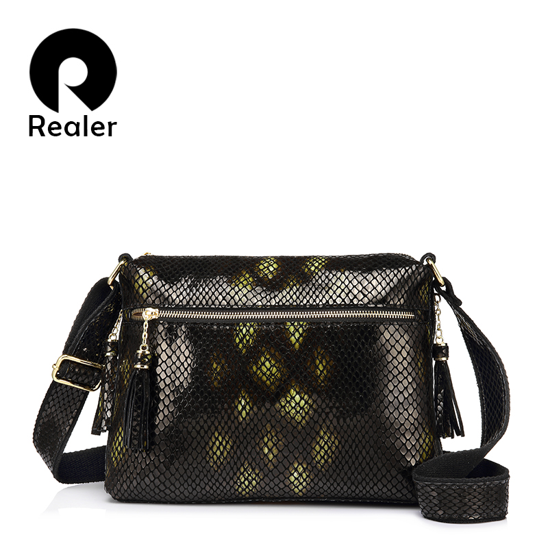 women crossbody bag with serpentine prints and tassel pillow women genuine leather shoulder bag  new design<br>