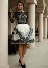 2016 New Gothic Black And White Long Sleeves Vintage Lace Short Wedding Dresses High Neck Bridal Gowns Vestidos De Novia