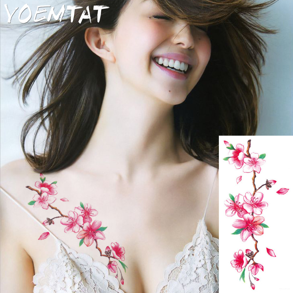 25 style flower arm shoulder tattoo stickers flash henna tattoo fake waterproof temporary tattoos sticker women 23