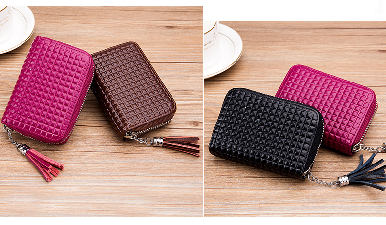 Lomelobo Lady Split Leather Card Wallet Holder Girl Zipper Coin Purse Women Cowhide Large capacity Card Case Housekeeper HCL7126 Details (10)